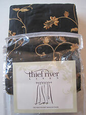 """mbroidered Curtain Panel Black w Gold Flowers Leaves Vine  54 x108"""""""