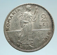 1914 ROMANIA under King Carol I Prince Karl Genuine Silver 2 Lei Coin i75229