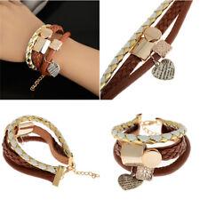Handmade Heart Brown Wrap Leather Bangle Bracelet Women Girl Dress Jewllery Gift