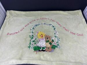 Suzys Zoo Green Baby Blanket Witzy Duck Bear Blessed Are Pure Heart God Fleece