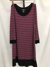 DKNY WOMEN'S STRIPED 3 / 4 SLEEVED SHIRT DRESS PINK BLACK GRAY SMALL NEW! $140