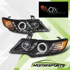 [CCFL Halo+LED Parking]For 2010 2011 2012 2013 Kia Forte Koup Black Headlights