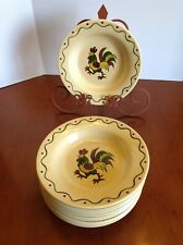 """10 - METLOX POPPYTRAIL Provincial Rooster 8.5"""" Rimmed Soup Bowl EUC to NEAR MINT"""