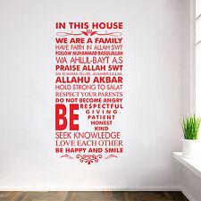 Islamic House Rules Vinyl Decal Sticker Allah Arabic Muslim Wall Art Decor