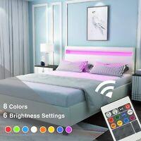 Full Size Faux Leather Upholstered Platform Metal Bed Frame LED Light Headboard