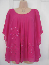 Beautiful Monsoon size 8 bright pink sheer lined top with sequins