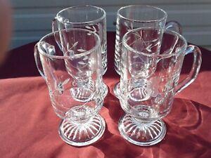 4 Princess House Hertiage Pattern Irish Coffee Mug Cup Crystal Glass 8.5 Oz.