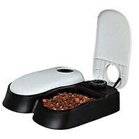 Automatic 2 Meal Pet Feeder Dog Cat Food Dispenser Station Bowl 48h Timer Dish