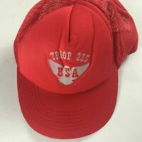 BSA Troop 225 Snapback VTG Hat Foam Front Red Boy Scouts Of America Adult SZ M/L