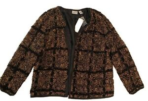 CHICO'S Black FROO FROO Interlude Open Front Lined Jacket Chico's Size 2–New!