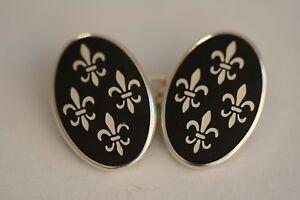 Sterling silver Fleur-de-lis cufflinks in Black