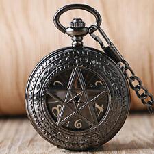 Retro Pocket Watch Black Pentagram Hand Wind Mechanical FOB Chain Half Hunter