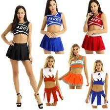 US2Pcs Women Adult Sexy Charming Cheerleader Cosplay Costume Uniform Fancy Dress
