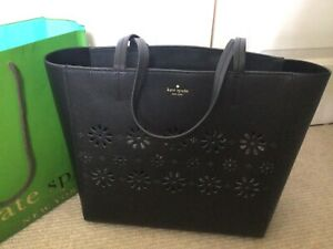 Kate Spade Large Leather Lazer Cut Tote, Black, SUPERB CONDITION