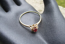 Ancienne superbe bague marguerite or massif 18 carats 18k et rubis taille 70.