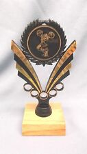 Cheerleader trophy black holder black and gold insert wood base