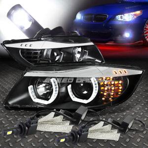 BLACK HALO PROJECTOR HEADLIGHT+CORNER+6000K WHITE LED SYSTEM FOR 06-08 BMW E90