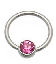 """w/Pink 5mm Gem Ball Steel Body Jewelry Captive Nipple Ear Ring 14 Gauge 1/2"""""""