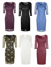 3/4 Sleeve Stretch, Bodycon Regular Floral Dresses for Women