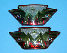Pair Matchless plastic Tank badges red gold silver 1961-69 Embleme paar