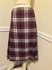 VINTAGE Wool Pleated Plaid Wrap Skirt by Aljen Canada, Sz: 12, Runs Small #10