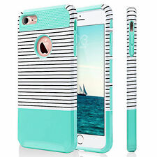 iPhone 6 Case, iPhone 6s Case Hybrid Shockproff Dual layer Mint Green+ Stripes