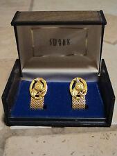 Vtg Swank Aries Ram Cufflinks Horoscope Vintage Mesh Gold Tone with Wooden Case