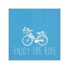 Blue Enjoy The Ride Summer BBQ 20 Disposable 3 Ply Cocktail Party Paper Napkins