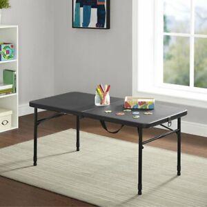 "Mainstays 40"" Plastic Adjustable Height Fold-in-Half Folding Table, Rich Black"