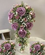 SILK WEDDING BOUQUET WHITE GYP FLOWER ROSES LILAC ROSE PINK DUSTY TEARDROP SET