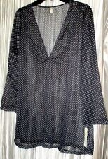**Jones New York** Blk Sheer, Wh.Polka Dot, Airy, L.Sleeve,Swim Cover Up, Med