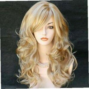 Damen Langhaar Blond Gold  Perücken Kostüm Perücke Volle Lang Gelockt Wig