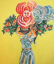 Vintage surrealist woman portrait gouache painting