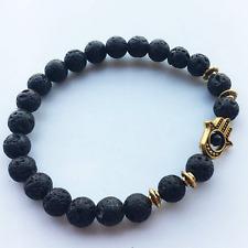 Natural Lava Stone Beads Gold Fatima Hand Reiki Yoga Healing Beads Bracelet 8MM