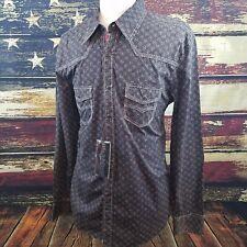 Rock & Roll Cowboy Mens Black Long Sleeve Snap Western Shirt XXL