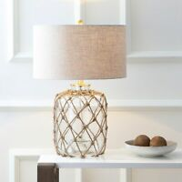 "Mer 26.5"" Glass and Rope LED Table Lamp, Brown/Clear by Brown, Clear"