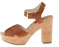 MICHAEL KORS Women's Natalia Platform Heels Brown Lether Cork Sandals! Size 8M