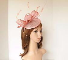 NEW Church Derby Wedding Sinamay Fascinator Cocktail Headband Dusty Pink 542