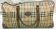 authentic vintage BURBERRY Nova Check PVC Leather Boston tote hand Bag Beige