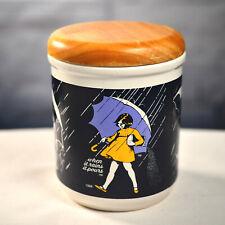Morton Salt Ceramic Cookie Jar Canister Container Wood Lid When It Rains PIC