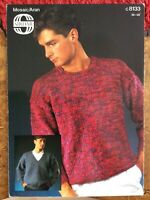 Mens Knitting Patterns.jumpers.size 36-48 inch chest.Aran.Sirdar.