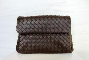 Bottega Veneta Intrecciato Woven Dark Brown Leather Flap Clutch