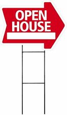"""Large (18""""x24"""") Open House - Red - Arrow Shaped Sign Kit with Stand"""
