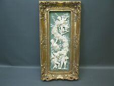 Großes Bild Engel Relief 55 cm x 27 cm Goldrahmen 3 Kg schwer Putto Stuck Barock