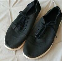 Tom's   Men's Black Canvas & Suede Leather Lace Up Shoes SZ 10.5