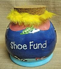 Colorful SHOE FUND Ceramic BANK w/Feathers & Cork Stopper by Today's Living