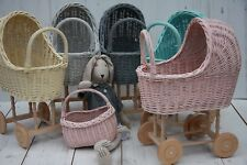 SMALL SIZE - Vintage Style Wicker Wooden hand-crafted dolls prams - HANDMADE
