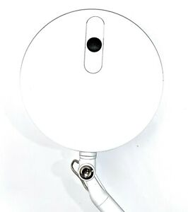 Humanscale Element Disc LED Light - White with desk clamp base.