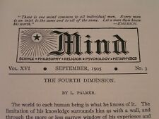 """Sept. 1905 """"Mind"""" Magazine - Hypnosis, Intuition, The 4th Dimension - Rare!"""