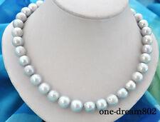 "18"" 13mm round gray Edison reborn keshi pearl necklace"